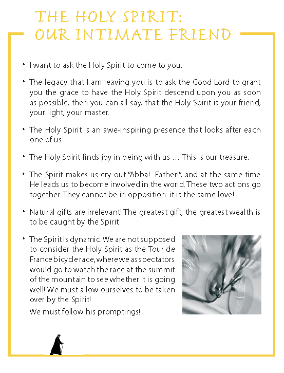 The Holy Spirit: our intimate Friend